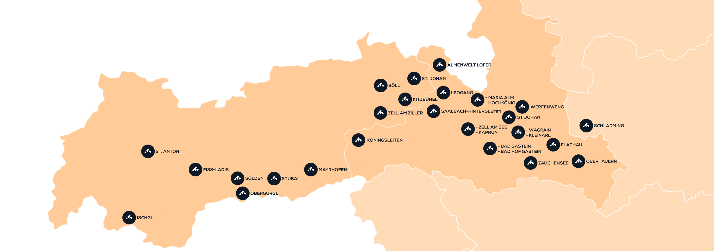 Map of destinations in Austria