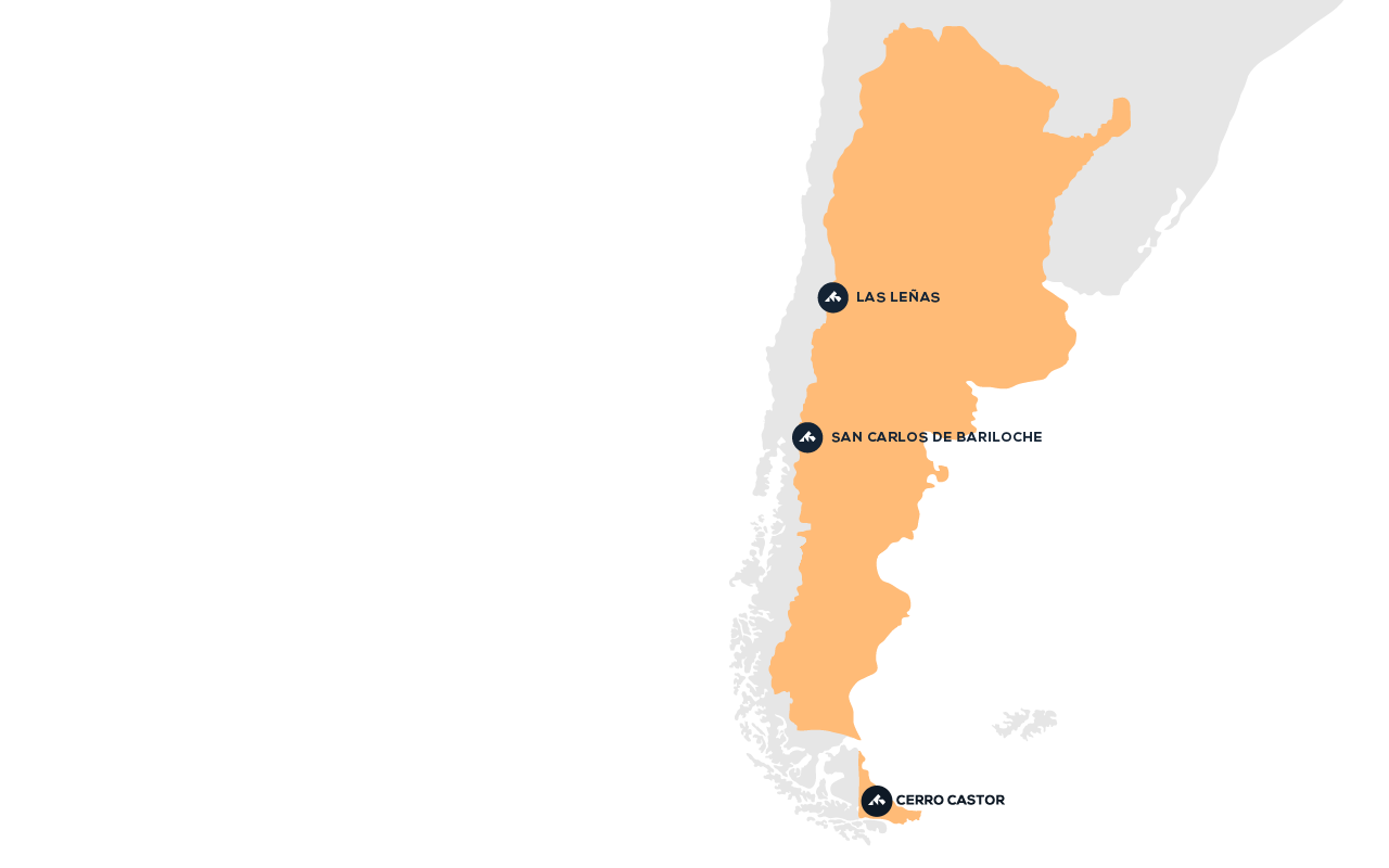 Map of destinations in Argentina