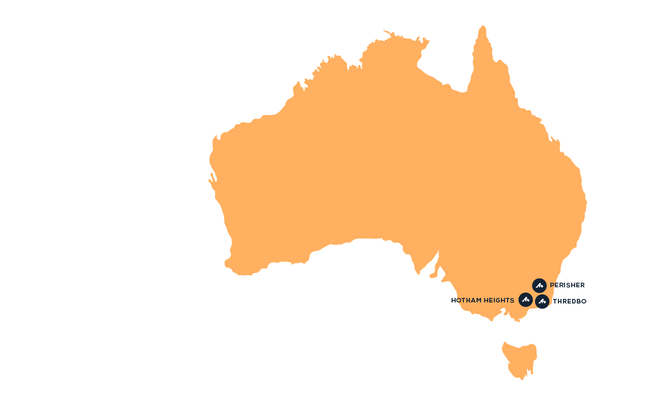 Map of destinations in Australia