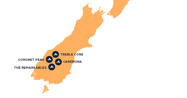 Map of destinations in New Zealand