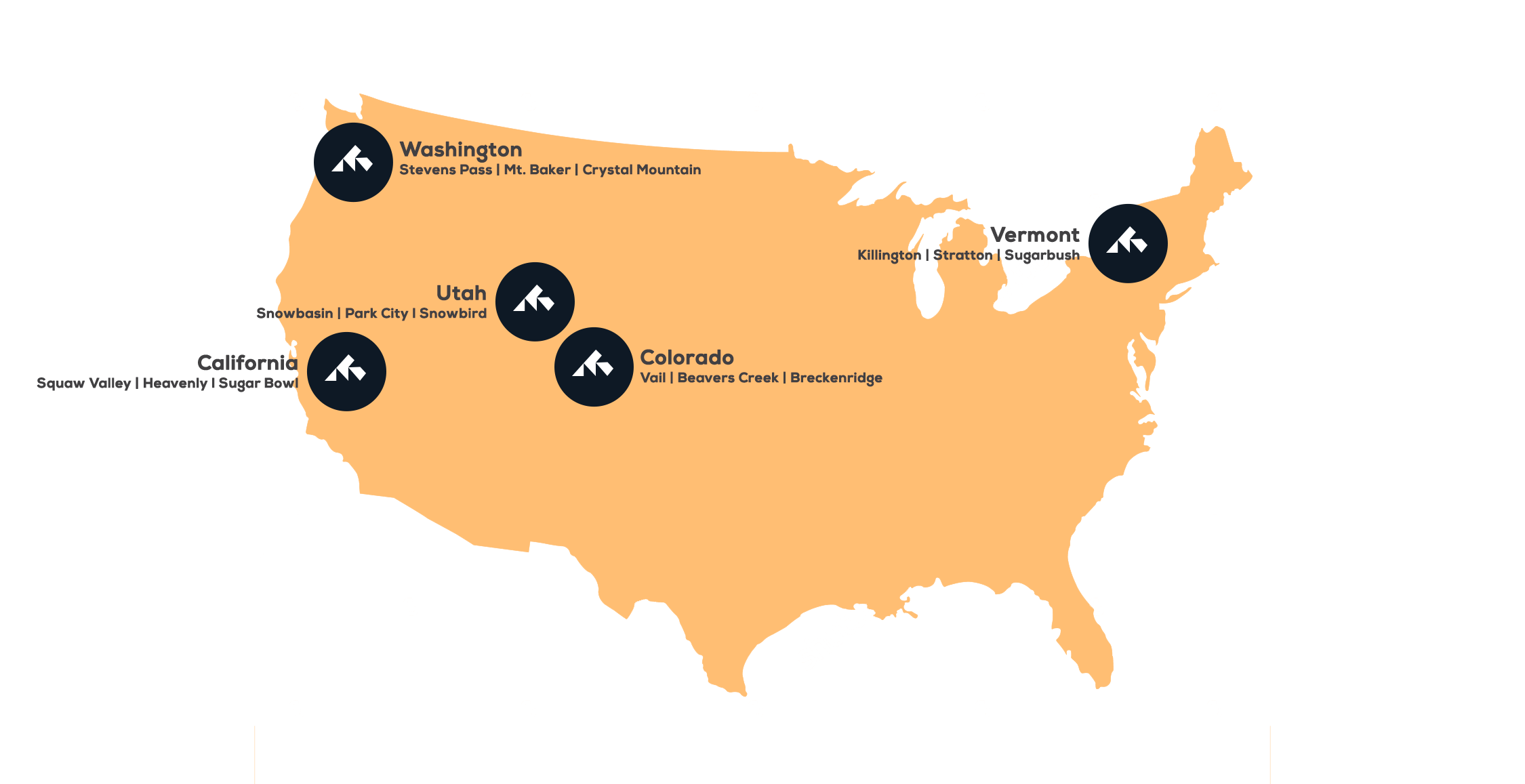 Map of destinations in the USA