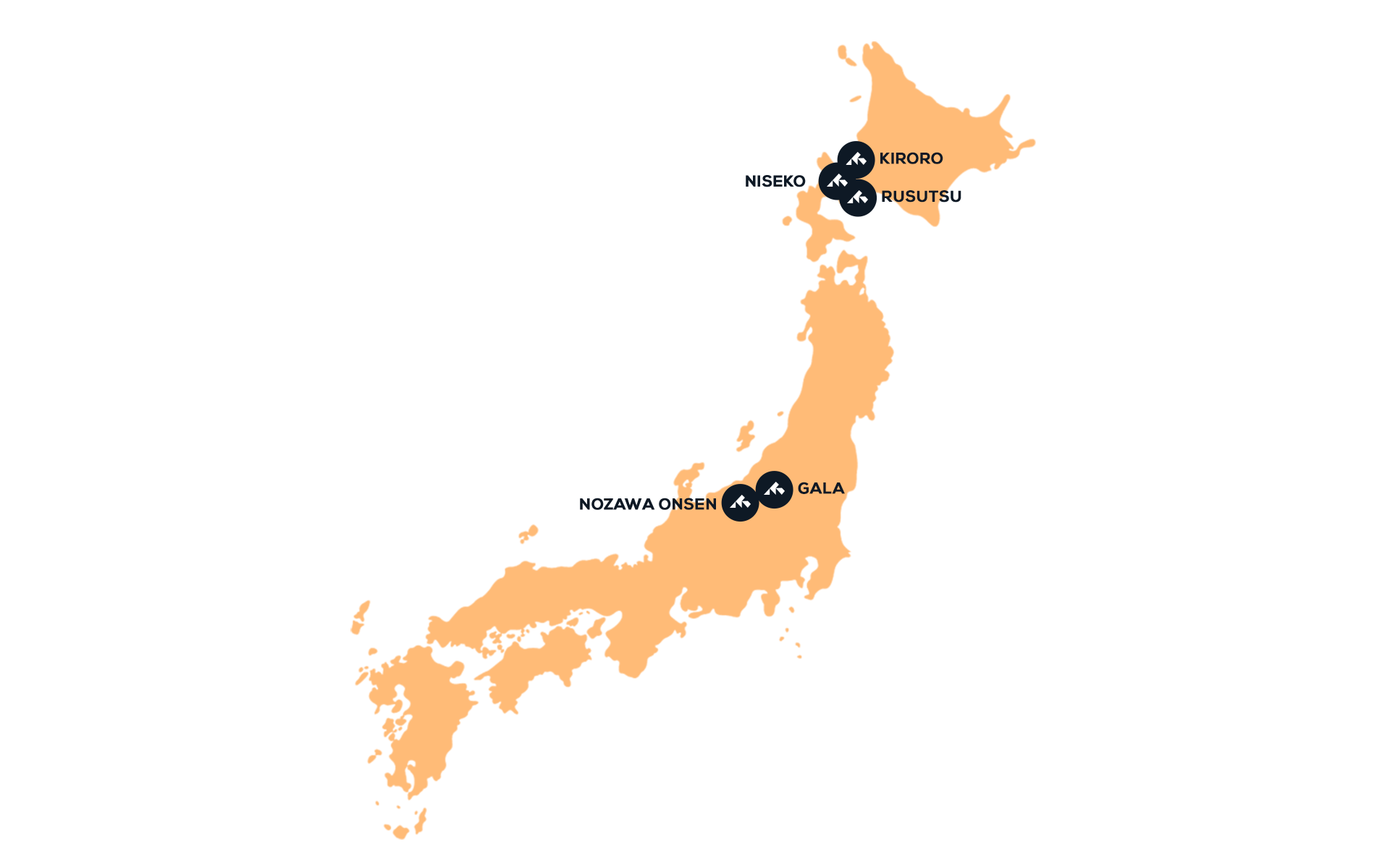 Map of destinations in Japan